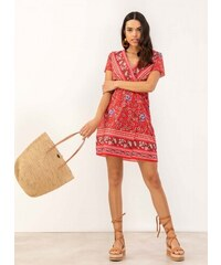 db52b52e6841 The Fashion Project Φόρεμα κρουαζέ με λουλούδια - Κόκκινο - 07237014001