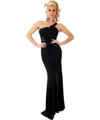 224eae2530f6 SD Fashion 30948 SD Μάξι φόρεμα με σκίσιμο και έναν ώμο - μαύρο