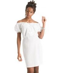 be94eeace1f2 DeCoro F20459 Φόρεμα με Κορδόνι στο Μπούστο - ΑΣΠΡΟ - 10