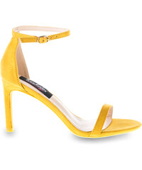 a7e67da384 Πέδιλα κίτρινα σουέτ με λουράκι και λεπτό τακούνι