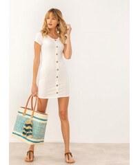 99b3e8257f16 The Fashion Project Ριπ φόρεμα με ξύλινα κουμπάκια - Λευκό - 07463001001