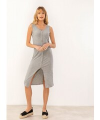 45b22ae2f731 The Fashion Project Αμάνικο ριπ φόρεμα με άνοιγμα μπροστά - Γκρι -  07464027001