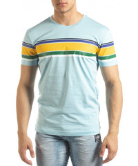 a9021eacf125 SAW Ανδρική γαλάζια κοντομάνικη μπλούζα με πολύχρωμες ρίγες
