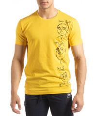 080f14b00d33 SAW Ανδρική κίτρινη κοντομάνικη μπλούζα με πριντ