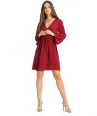 e0f42ecddda7 DeCoro F2930 Φόρεμα Κρουαζέ με Βολάν στα Μανίκια - ΜΠΟΡΝΤΟ - 10