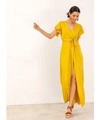 61eaf3480015 The Fashion Project Maxi κρουαζέ φόρεμα με άνοιγμα - Κίτρινο - 07606015001