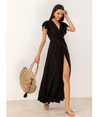 00b8f73ae2c The Fashion Project Maxi κρουαζέ φόρεμα με άνοιγμα - Μαύρο - 07606002001