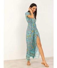 1ffa3439477e The Fashion Project Maxi κρουαζέ floral φόρεμα με άνοιγμα - Βεραμάν -  07471017001