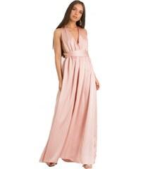 87338a55a943 DeCoro F10223 Φόρεμα Maxi Satin - ΡΟΖ - 10