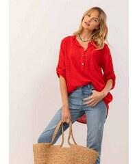 f8d3ff37aafe The Fashion Project Λινή πουκαμίσα με μάο γιακά και τσεπάκι - Κόκκινο -  07385014001