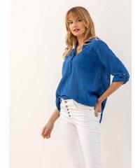 d0dbd160759b The Fashion Project Λινή πουκαμίσα με μάο γιακά και τσεπάκι - Μπλε -  07385037001