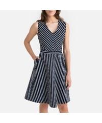 23877ad575e0 SUNCOO Κοντό αμάνικο φόρεμα από λινό με ρίγες