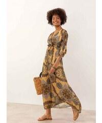 68b8ed348136 The Fashion Project Maxi πλισέ gypsy φόρεμα με λαχούρια - Μουσταρδί -  07634056001