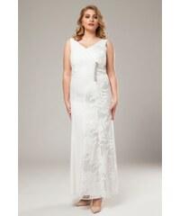 5ef5cf68cff1 Happysizes Φόρεμα maxi με δαντέλα και στρας σε λευκό χρώμα