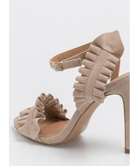 444c69f9e64 The Fashion Project Suede ruffle πέδιλα με μπαρέτα - Μπεζ - 07592003003