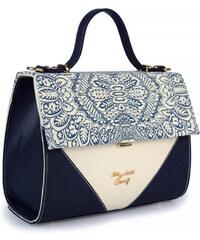 8e5e2b321981 RAVE Τσάντα χειρός μπεζ με μπλε μοτίβο