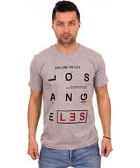 c8b31dbafc0e Λεπτομέρειες. outletshop Γκρι ανδρικό T-shirt με μαύρο-κόκκινο τύπωμα