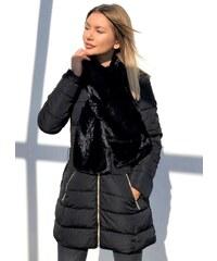 13103527abd parizianista μεσάτο μπουφάν με αποσπώμενη γούνα κασκόλ - Μαύρο - 002014