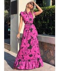 58979c850a13 parizianista floral maxi φόρεμα αέρινο βολάν - Μωβ - 035001