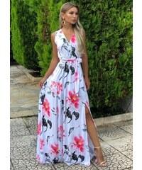 9ff2beb74d47 parizianista maxi αμάνικο φόρεμα με σκίσιμο - Λευκό floral - 046001