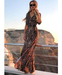 9427816b07bb parizianista maxi φόρεμα με σκίσιμο μπροστά - Λεοπάρ - 017001