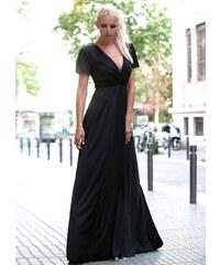 8a5a28efd5b parizianista maxi φόρεμα κρουαζέ με κορδόνια στην πλάτη - Μαύρο - 002001
