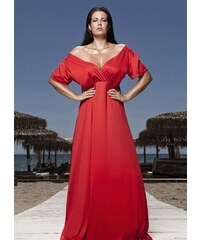 2cea94de4c99 parizianista maxi φόρεμα κρουαζέ με κορδόνια στην πλάτη - Κόκκινο - 010001
