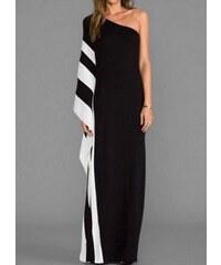 e2846d4988d parizianista maxi φόρεμα με έναν ώμο και σκίσιμο από τη μία πλευρά -  Ασπρόμαυρο - 004001