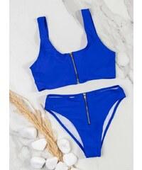 8fd7b399affa The Fashion Project Σετ bikini με μεταλλικό φερμουάρ - Ίντιγκο - 07716060004