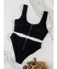 e69aff67a8e7 The Fashion Project Σετ bikini με μεταλλικό φερμουάρ - Μαύρο - 07716002004