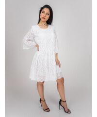 ef9045b61203 Stylegr Φόρεμα λευκό με ανάγλυφη δαντέλα