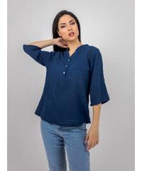 5ccda0f3f138 Stylegr Πουκαμισο λινό με κουμπιά στον γιακά μπλε - M