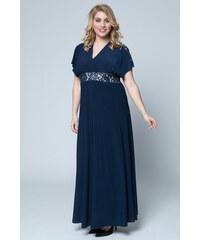 655aedee2214 Happysizes Maxi μπλε ελαστικό φόρεμα με V και δαντέλα