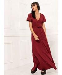 1a41114cd0c1 Noobass Δετό maxi κρουαζέ φόρεμα - Μπορντό - 07926031001