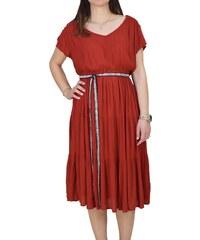 dfe0c690ad6 Ριχτό Φόρεμα Με Κορδέλα Toi & Moi 50-3785-19 Κόκκινο Κεραμμυδί toimoi 50