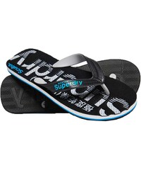 a23f3b13325 Superdry - MF3107ET X2D - Scuba Perforated Flip Flop - Black/Grey/Fluro Blue