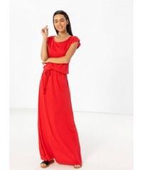 fc902318fc1b Noobass Maxi μακό φόρεμα με ζώνη κοτσιδάκι - Κόκκινο - 07645014001