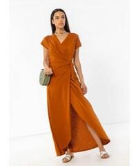 53846878d1a2 Noobass Basic maxi δετό κρουαζέ φόρεμα - Κανέλα - 07826098001