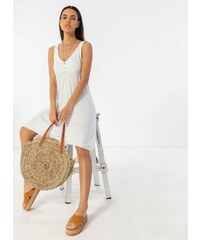 e7df2e377c2b The Fashion Project Basic φόρεμα με τρία κουμπάκια - Λευκό - 07451001001