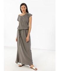 6841f1337b61 Noobass Maxi μακό φόρεμα με ζώνη κοτσιδάκι - Χακί - 07645022001