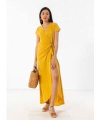 fde380e6d4f7 Noobass Basic maxi δετό κρουαζέ φόρεμα - Κίτρινο - 07826015001