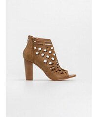 9ce70e50148 The Fashion Project Διάτρητα peep toe μποτάκια αστραγάλου με ξύλινο τακούνι  - Κάμελ - 07943008002