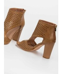 1b6d576cc17 The Fashion Project Peep toe ankle boots με άνοιγμα στο πλάι - Κάμελ -  07944008002