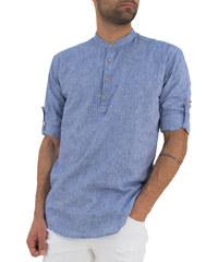 9bdca1645f98 Ανδρικό μπλέ πουκάμισο Ben Tailor μαο γιακά 1128D