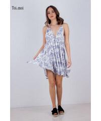 2cad48d02f63 TOI MOI Γυναικείο φόρεμα μίνι με τύπωμα λουλούδια ΛΕΥΚΟ