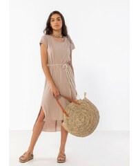 09c13d01f368 Noobass Ασύμμετρο oversize φόρεμα με σχοίνινο ζωνάκι - Μπεζ - 07934003001