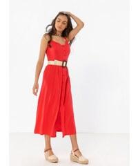 116100bcc07a Noobass Φόρεμα ραντάκι με κουμπιά - Κόκκινο - 07932014009