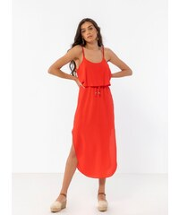 f5cf259c7f5f The Fashion Project Midi φόρεμα με βολάν στο μπούστο - Κόκκινο - 07928014001