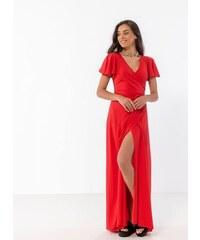 4513f2d7d888 Noobass Δετό maxi κρουαζέ φόρεμα - Κόκκινο - 07926014001