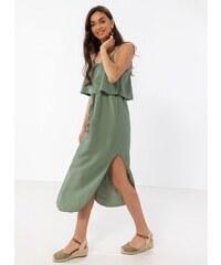 ef5319ebdfa5 The Fashion Project Midi φόρεμα με βολάν στο μπούστο - Χακί - 07928022001